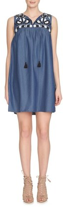 CeCe Embroidered Chambray Shift Dress $158 thestylecure.com