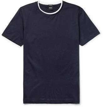 HUGO BOSS Taber Contrast-Trimmed Mercerised Cotton-Jersey T-Shirt