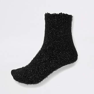 River Island Black glitter fluffy socks