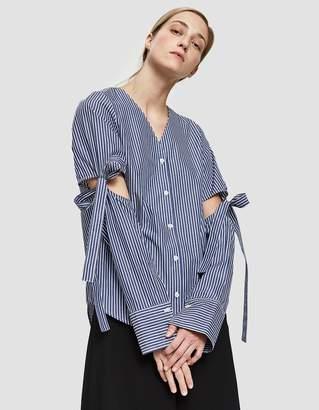 Yune Ho Lia Stripe V-Neck Shirt