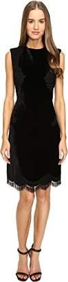 Alberta Ferretti Women's Sleeveless Lace Trim Dress