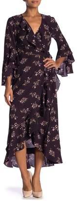 Max Studio Surplice V-Neck Bell Sleeve Print Hi-Lo Dress
