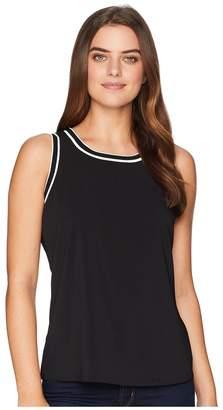 Tommy Hilfiger Sleeveless Woven Pullover Top w/ Trim Women's Sleeveless