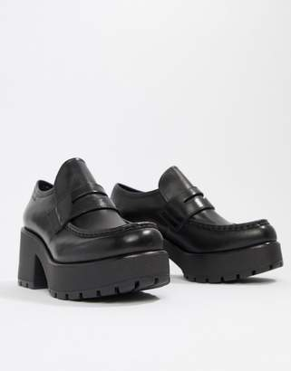 Vagabond Dioon black leather platform block heeled loafer