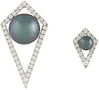 Elise Dray small and large diamond moon earrings