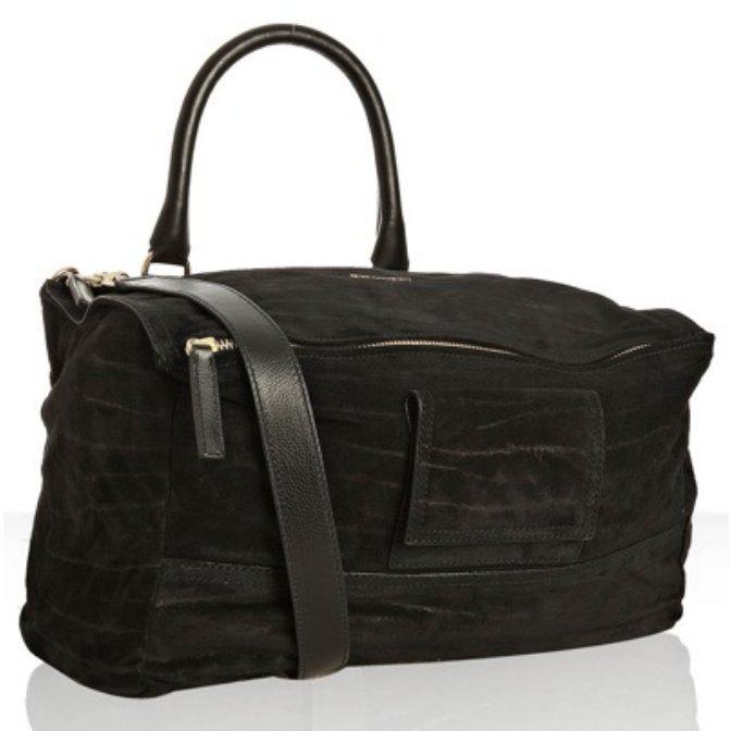 Givenchy black grained suede 'Pandora' medium shoulder bag