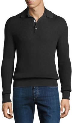 Tom Ford Men's Waffle-Knit Long-Sleeve Polo Shirt
