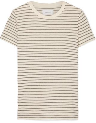 Current/Elliott The Retro Striped Metallic Cotton-blend Jersey T-shirt - Cream