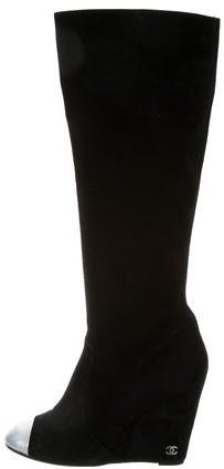 Chanel Knee-High Cap-Toe Boots