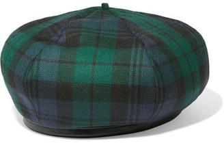 Miu Miu - Leather-trimmed Tartan Wool Beret - Dark green $270 thestylecure.com
