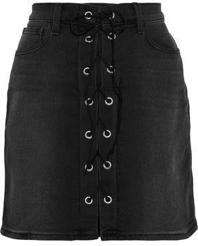L'Agence Portia Lace-up Denim Mini Skirt