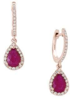Effy Amoré Natural Mozambique Ruby, Diamond and 14K Rose Gold Drop Earrings
