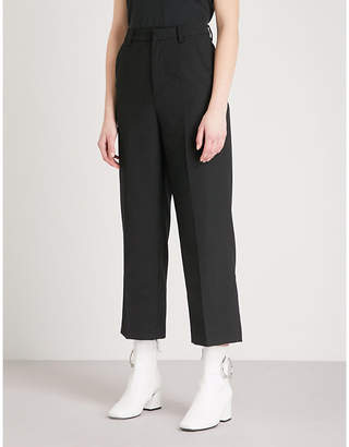 Mo&Co. Wide-leg straight high-rise wool-blend trousers