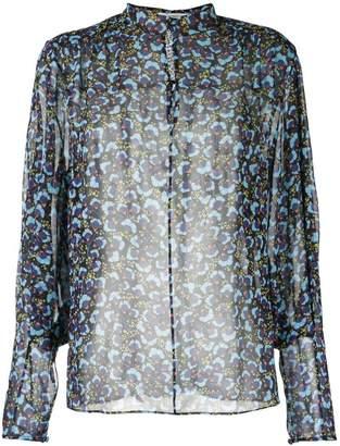 Mary Katrantzou Sheer Pansy print blouse