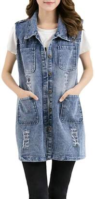 Wenko Joe Womens Sleeveless Faded Denim Plus Size Ripped Jean Coat Mid-Long Vest L