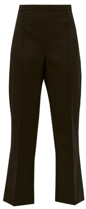 Andrew Gn High Rise Cropped Virgin Wool Flared Trousers - Womens - Black