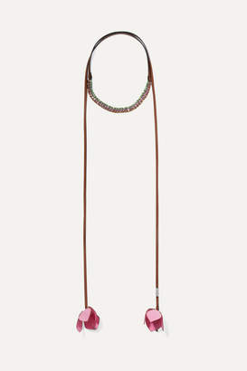 Marni Leather, Silver-tone, Canvas And Crystal Wrap Necklace - Pink