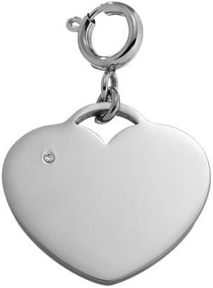 Steel City Cubic Zirconia Stainless Steel Heart Charm