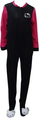 Hello Kitty Puffy Heads Fleece One Piece Footie Pajama for women