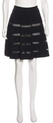 Alaia A-Line Open Knit-Paneled Skirt w/ Tags