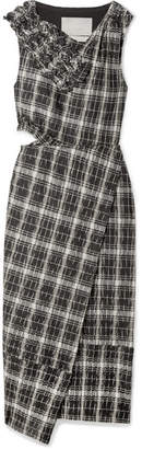 Jason Wu Wrap-effect Checked Crinkled Cotton-blend Midi Dress - Navy