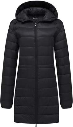 Wantdo Women's Packable Down Jacket Hooded Packable Ultra Light Weight Down Coat