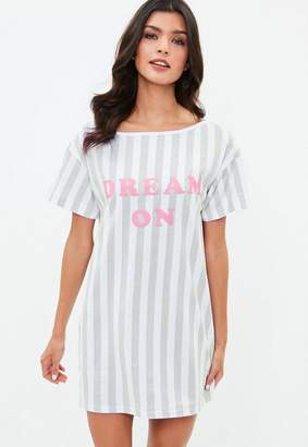 Missguided White Dream On Graphic Night Tee