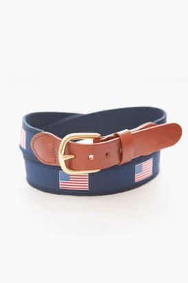 Gents Leather Man LTD. American Flag Tab & Buckle Motif Belt