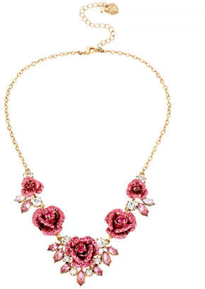Betsey Johnson Glitter Rose Metal Plastic Necklace
