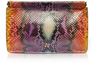 Jerome Dreyfuss Popoche Clic Clac Large Nirvana Printed Python Clutch