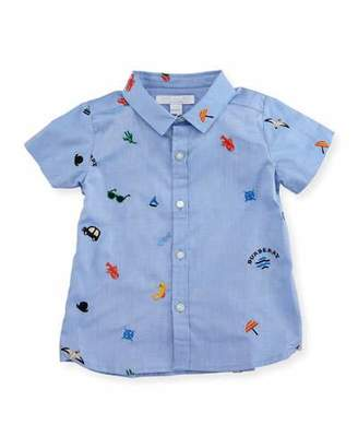 Burberry Clarkey Embroidered Shirt, Medium Blue, Infant/Toddler $120 thestylecure.com