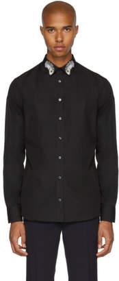 Alexander McQueen Black Peacock Feather Collar Shirt