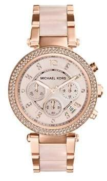 Michael Kors Parker Pave Rose Goldtone Stainless Steel Chronograph Bracelet Watch