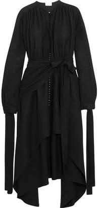 Magda Butrym - Gela Asymmetric Silk Crepe De Chine Midi Dress - Black