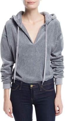 KENDALL + KYLIE Hooded Dolman-Sleeve Velour Bodysuit