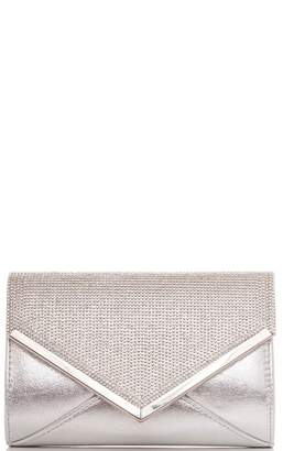 Quiz Silver Diamante And Shimmer Clutch Bag