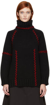 Alexander McQueen Black and Red Embroidered Cashmere Turtleneck