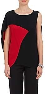 Zero Maria Cornejo Women's Amale Colorblocked Crepe Blouse - Black