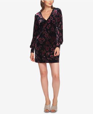 1 STATE 1.state Printed Velvet Blouson-Sleeve Dress