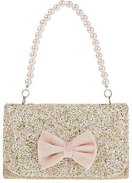 Monsoon Velvet Bow Glitter Mini Bag