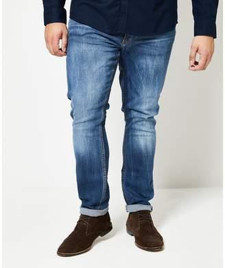 Burton - Big & Tall Mid Blue Skinny Fit Jeans