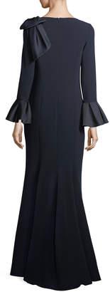 Rickie Freeman For Teri Jon Trumpet-Sleeve Crepe Column Evening Gown w/ Bow