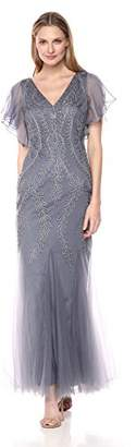 Cachet Women's V Neck Embroidered Mesh Gown