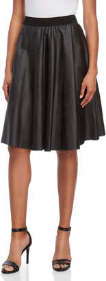 Made In Italy Faux Leather Banded Circle Skirt