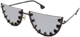 Alice + Olivia Palm Canyon Flat-Top Watermelon Sunglasses, Black