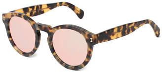 Illesteva Leonard Round Mirrored Sunglasses, Tortoise/Rose