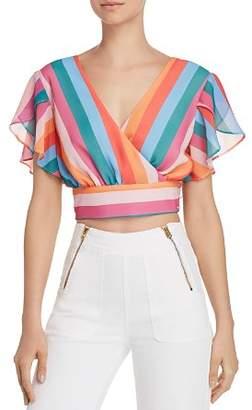 Aqua Rainbow-Stripe Faux-Wrap Cropped Top - 100% Exclusive