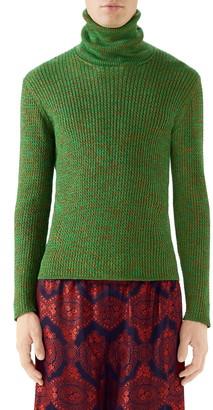 Gucci Metallic Ribbed Turtleneck Sweater
