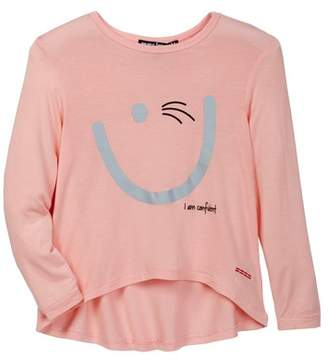 Peace Love World Smiley Face Long Sleeve Hi-Lo Shirt (Little Girls)