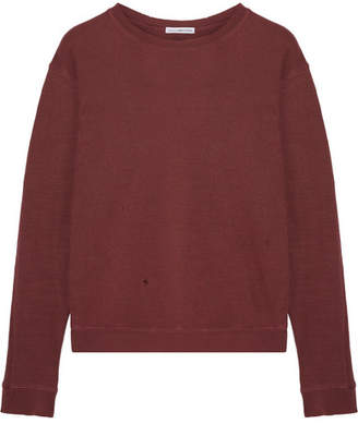 James Perse - Distressed Cotton-jersey Sweatshirt - Burgundy $145 thestylecure.com